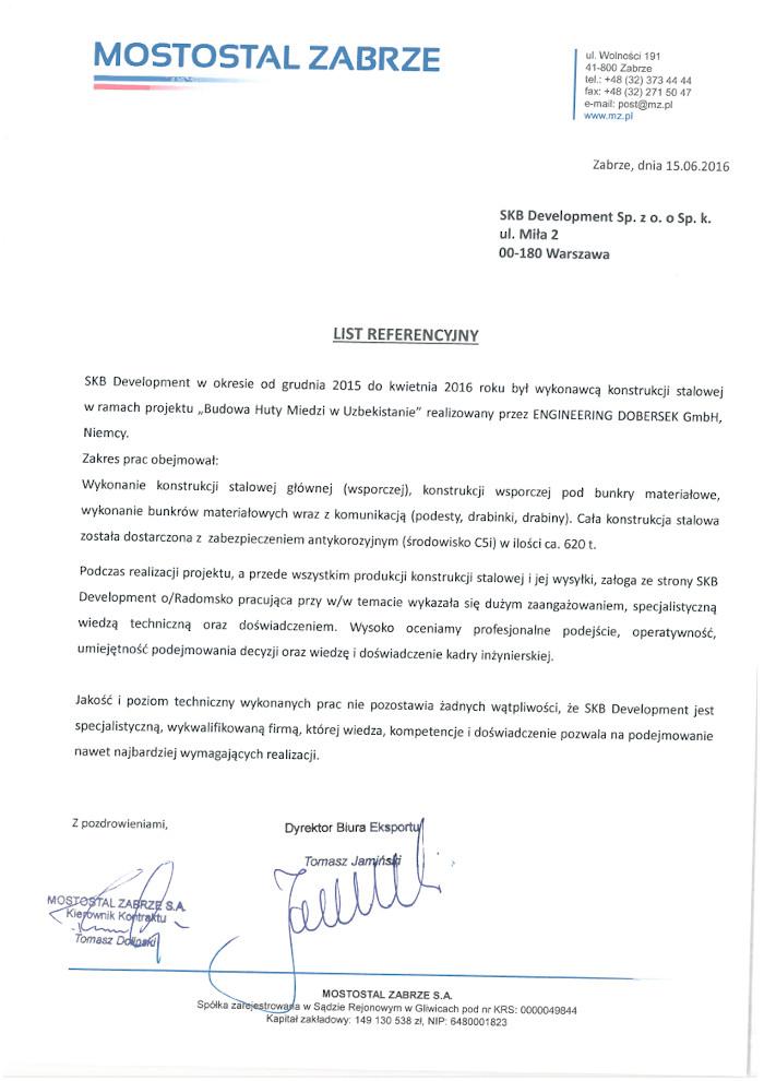 reference Mostostal Zabrze